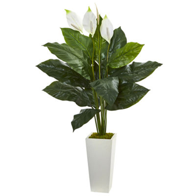 "51"" Spathiphyllum Artificial Plant in White Tower Planter"