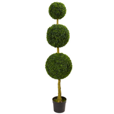 5.5' Triple Ball Boxwood Artificial Topiary Tree; UV Resistant (Indoor/Outdoor)