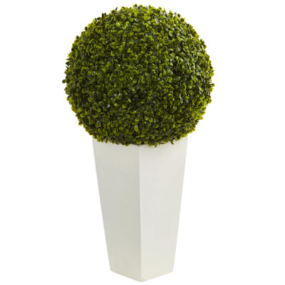 """28"""" Boxwood Topiary Ball Artificial Plant in White Tower Planter (Indoor/Outdoor)"""