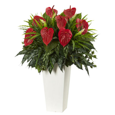Mixed Anthurium Artificial Plant in White Tower Vase