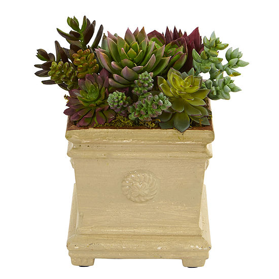 75 Mixed Succulent Artificial Plant In Decorative Vase
