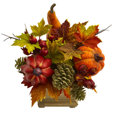 Pumpkin; Gourd; Berry and Maple Leaf Artificial Arrangement