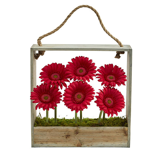 Gerber Daisy Garden Artificial Arrangement in Hanging Wood Frame