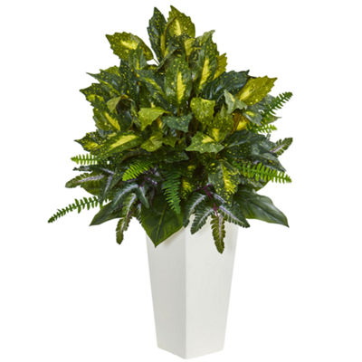 Mixed Emerald Philodendron Artificial Plant in White Tower Planter
