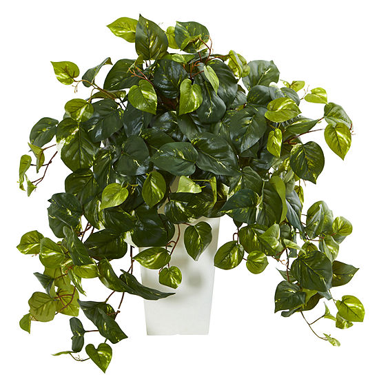 Pothos Artificial Plant In White Tower Vase
