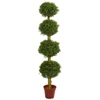 6' Four Tier Boxwood Artificial Topiary Tree; UV Resistant (Indoor/Outdoor)