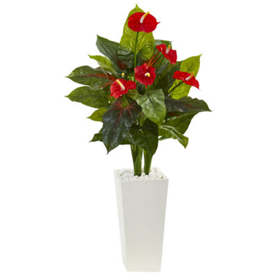 4.5' Anthurium Artificial Plant in White Tower Planter