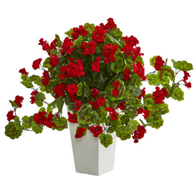 Geranium Artificial Plant in White Tower Planter