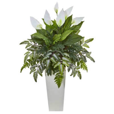 Mixed Spathiphyllum Artificial Plant in White Tower Vase