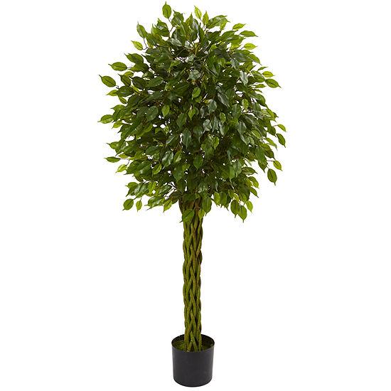 5' Ficus Artificial Tree with Woven Trunk; UV Resistant (Indoor/Outdoor)
