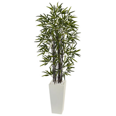 5.5' Black Bamboo Artificial Tree in White TowerPlanter