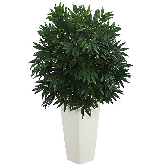 Double Bamboo Palm Artificial Plant in White TowerVase