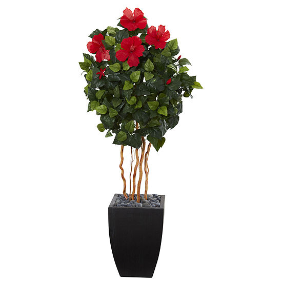 45 Hibiscus Artificial Tree In Black Washed Planter