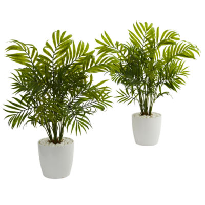 """19.5"""" Palms in White Planter Artificial Plant (Set of 2)"""