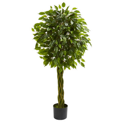 4' Ficus Artificial Tree with Woven Trunk; UV Resistant (Indoor/Outdoor)
