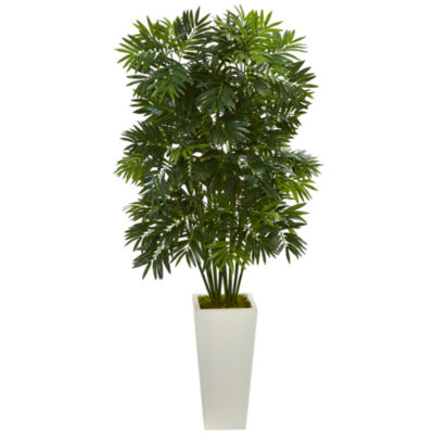 """49"""" Mini Bamboo Palm Artificial Pant in White Tower Planter"""