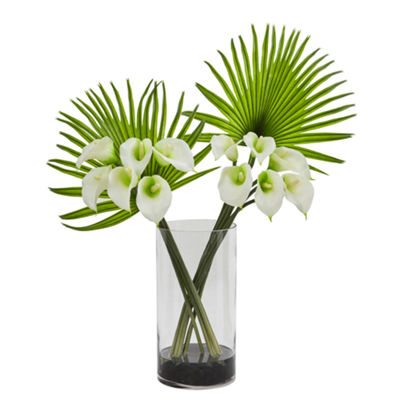 Calla Lily and Fan Palm Artificial Arrangement in Cylinder Glass Vase