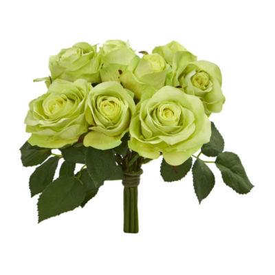 Rose Bush Artificial Flower Stem Bunch; Set of 2