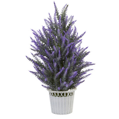 Lavender in White Wicker Planter Artificial Plant