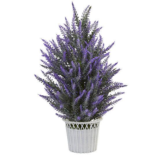 Lavender In White Wicker Planter Artificial Plant