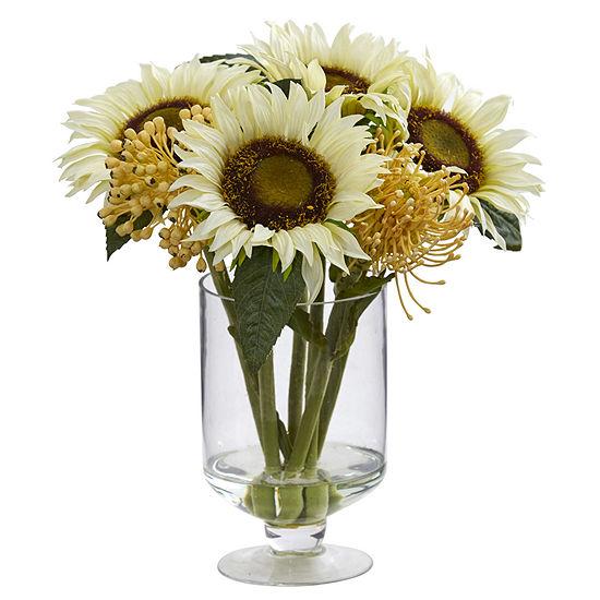 """12"""" Sunflower & Sedum Artificial Arrangement inVase"""