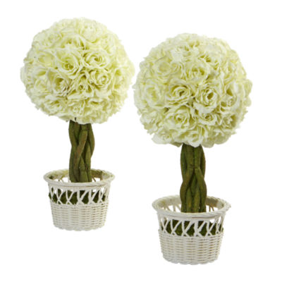 """13"""" Rose Topiary Artificial Plant in White Wicker Pot; Set of 2"""