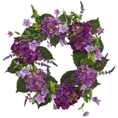 "24"" Hydrangea Artificial Wreath"