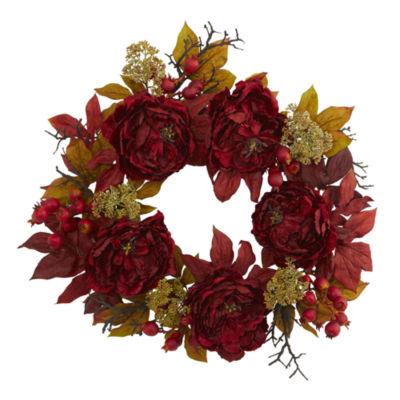 "24"" Peony Sedum Wreath"