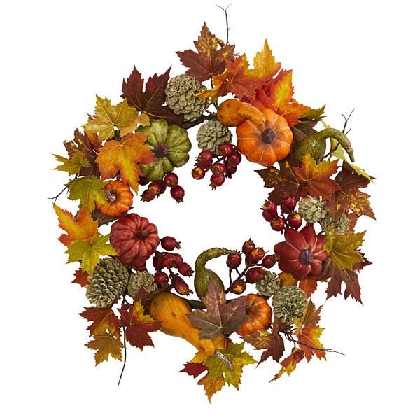 "24"" Pumpkin; Gourd; Berry and Maple Leaf Wreath"