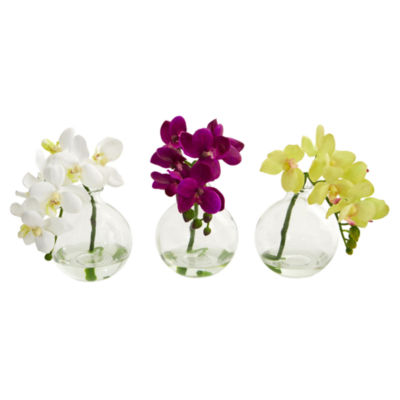 "9"" Phalaenopsis Orchid Artificial Arrangement inVase; Set of 3"
