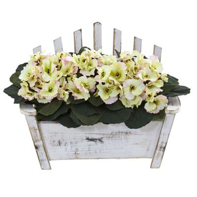 African Violet Artificial Plant in Wooden Bench Planter
