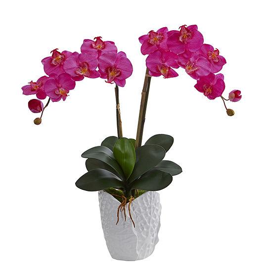 Double Phalaenopsis Orchid Artificial Arrangementin White Ceramic Vase