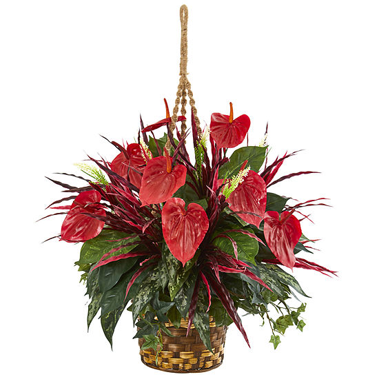 Mixed Anthurium Hanging Basket Artificial Plant