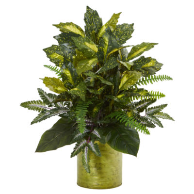 Mixed Greens in Green Tin Planter Artificial Plant