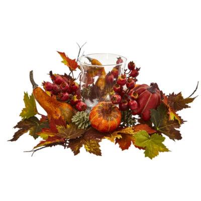 Pumpkin; Gourd; Berry and Maple Leaf Artificial Arrangement Candelabrum