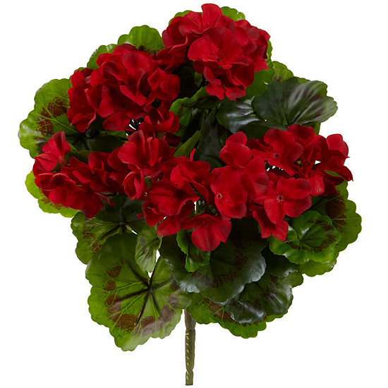 Geranium Artificial Bush UV Resistant-Set of 4 (Indoor/Outdoor)