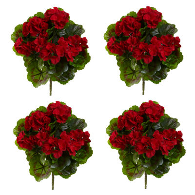 Geranium Artificial Bush UV Resistant-Set of 4 (Indoor/Outdoor)