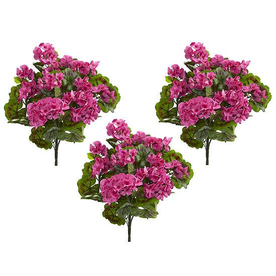 Geranium Artificial Bush UV Resistant- Set of 3 (Indoor/Outdoor)