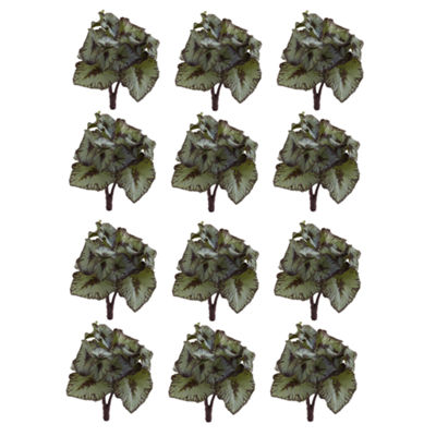 Rex Begonia Artificial Bush Stems; Set of 12
