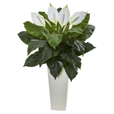 3' Spathiphyllum Artificial Plant in White TowerPlanter