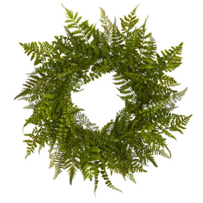 "24"" Mixed Fern Artificial Wreath"