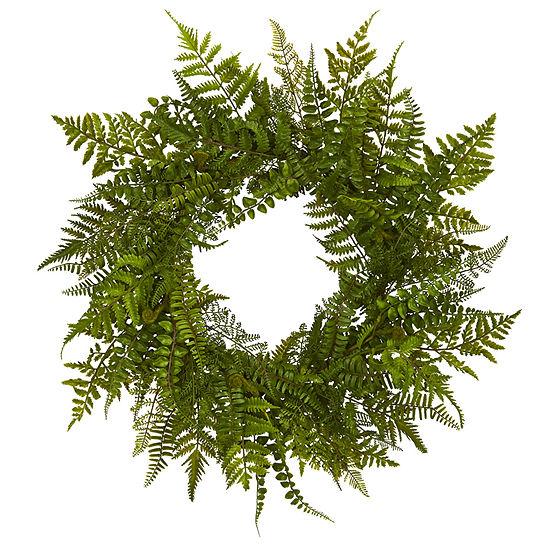 """24"""" Mixed Fern Artificial Wreath"""