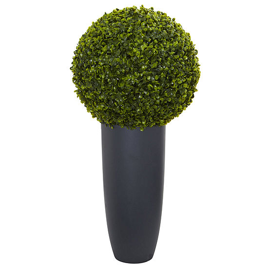 "30"" Boxwood Artificial Topiary Plant in Gray Cylinder Planter (Indoor/Outdoor)"