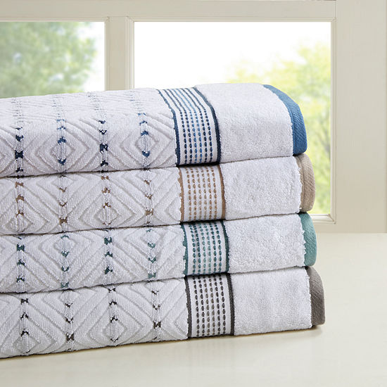 Madison Park Nikola 6-Pc Cotton Yarn Dyed Bath Towel Set