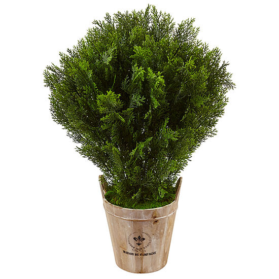 3' Cedar Artificial Plant in Barrel Planter (Indoor/Outdoor)