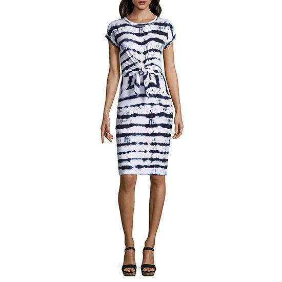 2a15d3c82f Liz Claiborne Short Sleeve Tie Front A-Line Dress - JCPenney