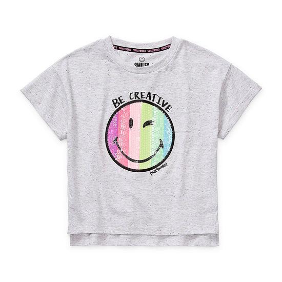 Smiley World Little & Big Girls Round Neck Short Sleeve Graphic T-Shirt