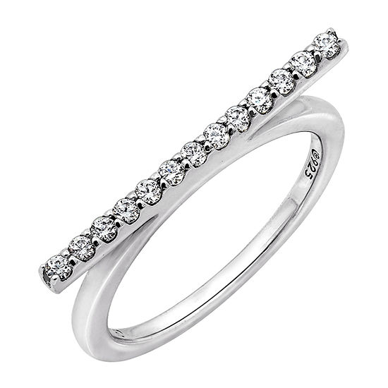 Womens 1/4 CT. T.W. Cubic Zirconia Sterling Silver Round Stackable Ring