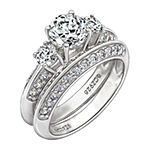 Womens 3 CT. T.W. Cubic Zirconia Sterling Silver Round Bridal Set