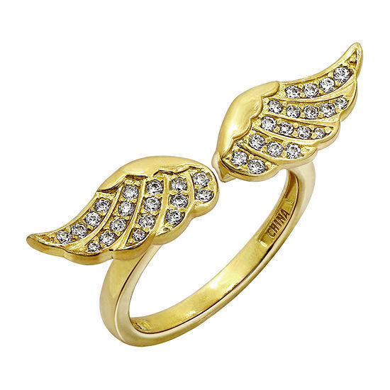 Womens 1/2 CT. T.W. Cubic Zirconia 14K Gold Over Silver Wing Cocktail Ring